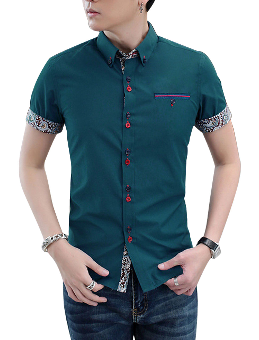 Man Point Collar Button Up Short Sleeves Rolled Cuffs Shirt Turquoise M