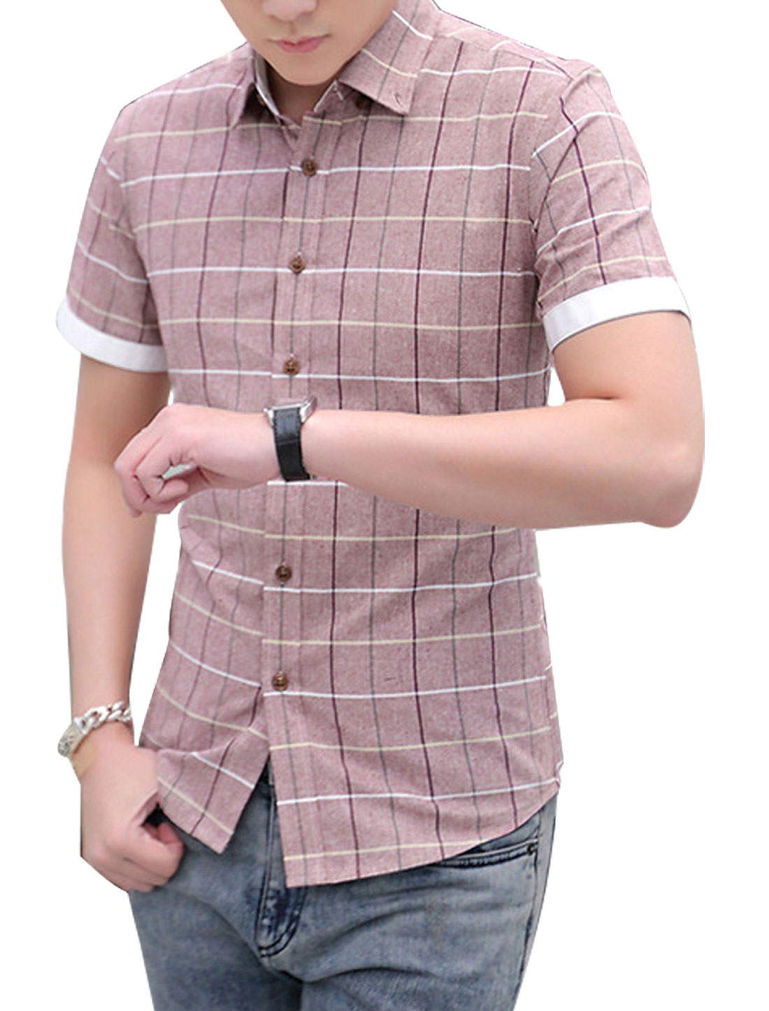 Man Checks Point Collar Short Sleeves Casual Button Up Shirt Pale Pink M