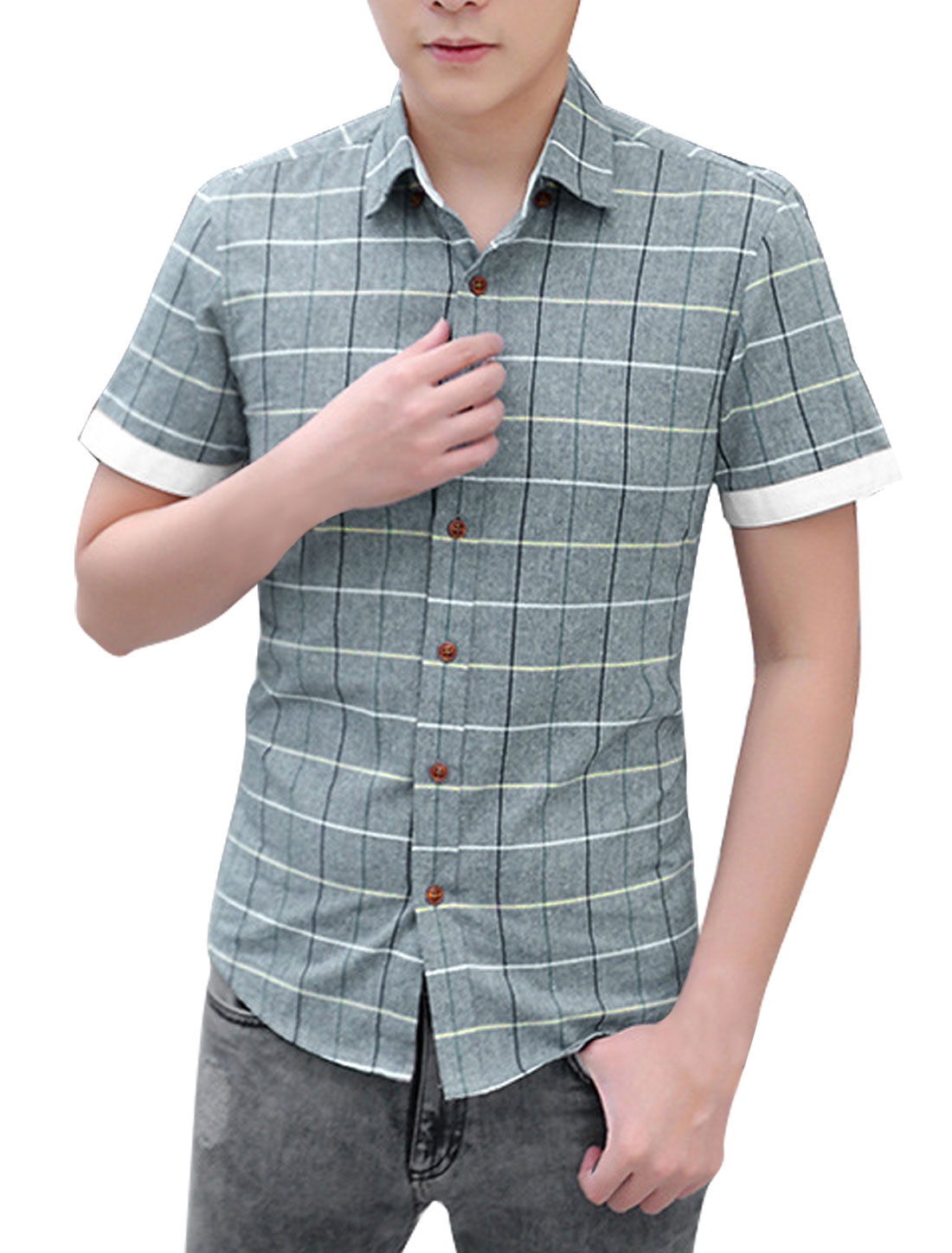 Man Checks Well-fitting Point Collar Casual Button Up Shirt Gray M