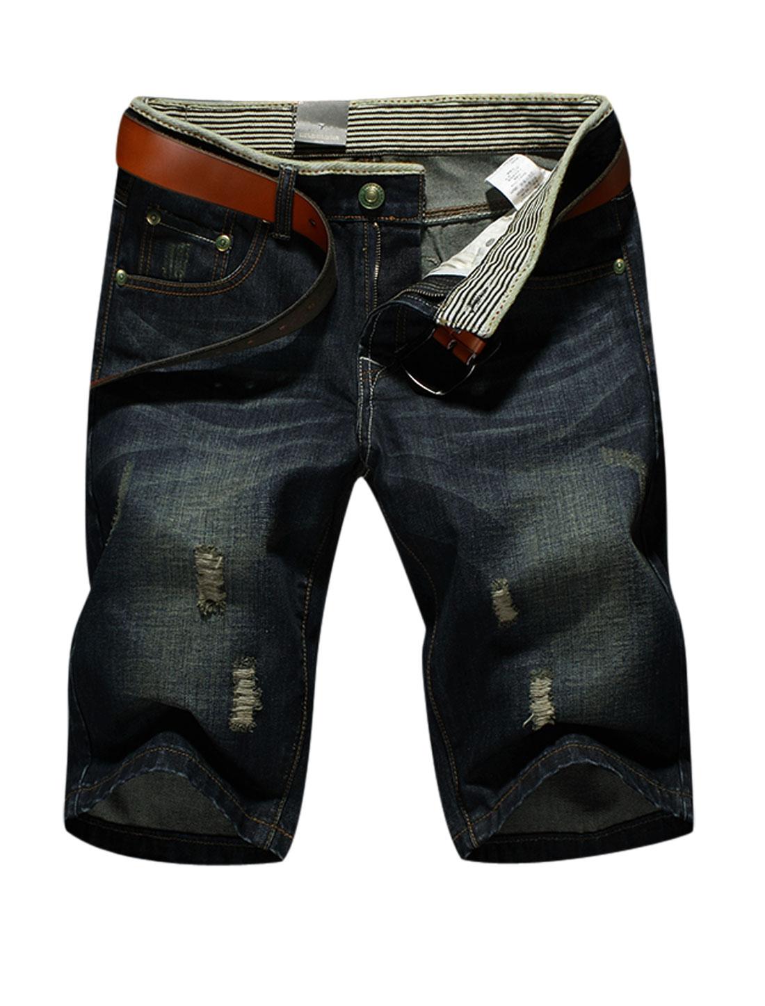 Men Belt Loop Zip Fly Destroyed Front Pockets Shorts Navy Blue W36