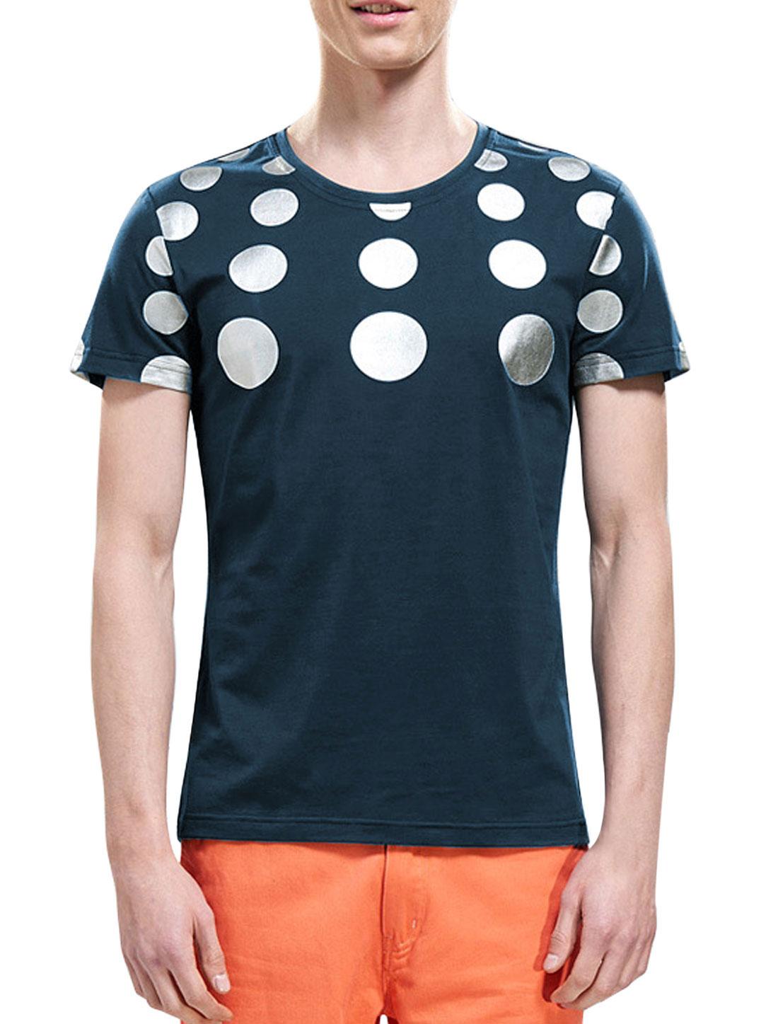 Men Round Neck Short Sleeves Polka Dots T-Shirts Navy Blue M