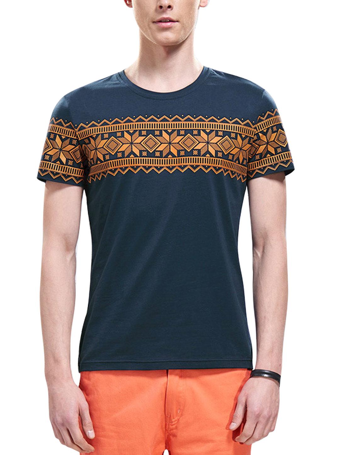 Men Short Sleeves Geometric Prints Slipover T-Shirts Navy Blue M