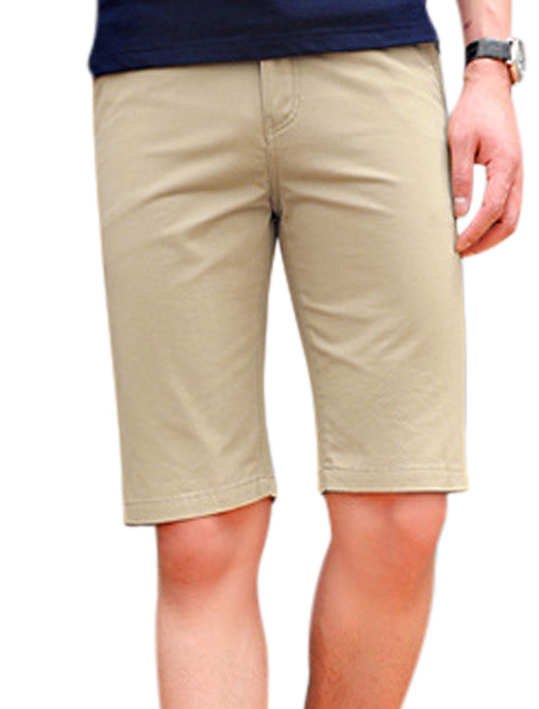 Men Mid Rise Drawstring Waist Zip Fly One Button Closure Shorts Beige W30