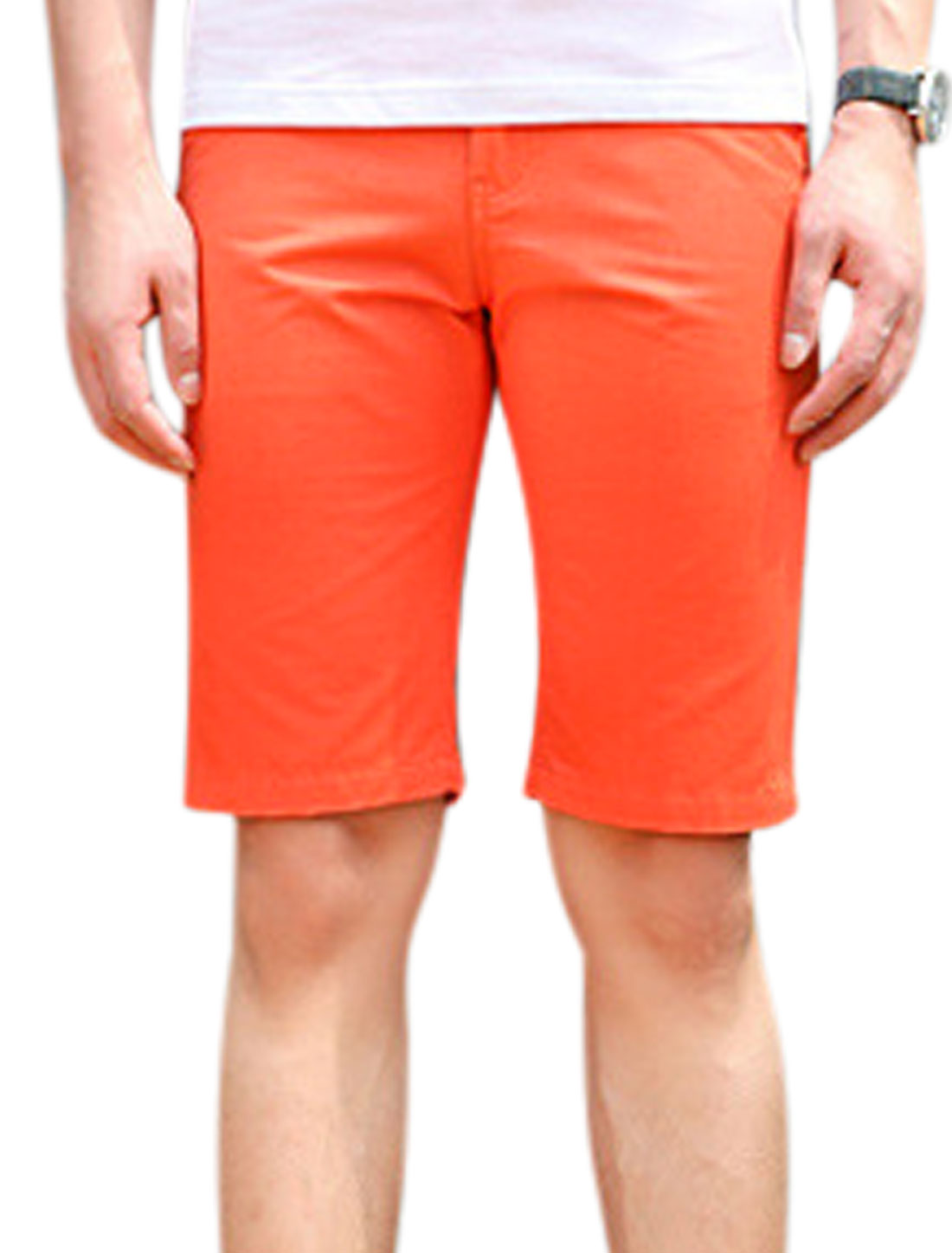 Man Drawstring Waist Zip Fly Four Pockets Leisure Shorts Coral W30