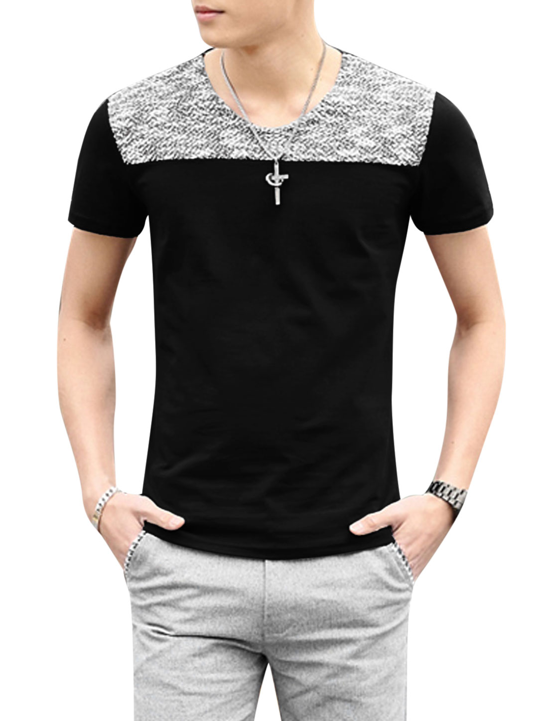 Men Short Sleeve Panel Contrast Color Casual T Shirts Black M