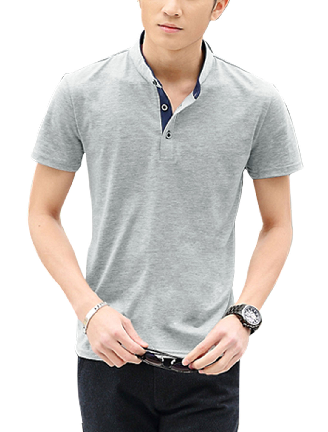 Men Short Sleeve Stand Collar Slim Fit T-Shirts Light Gray M