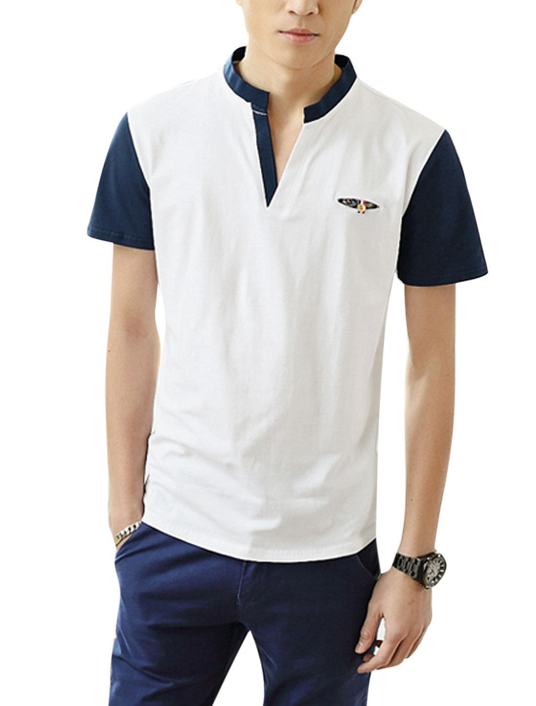 Man Stand Collar V Neckline Contrast Color T-Shirts White M
