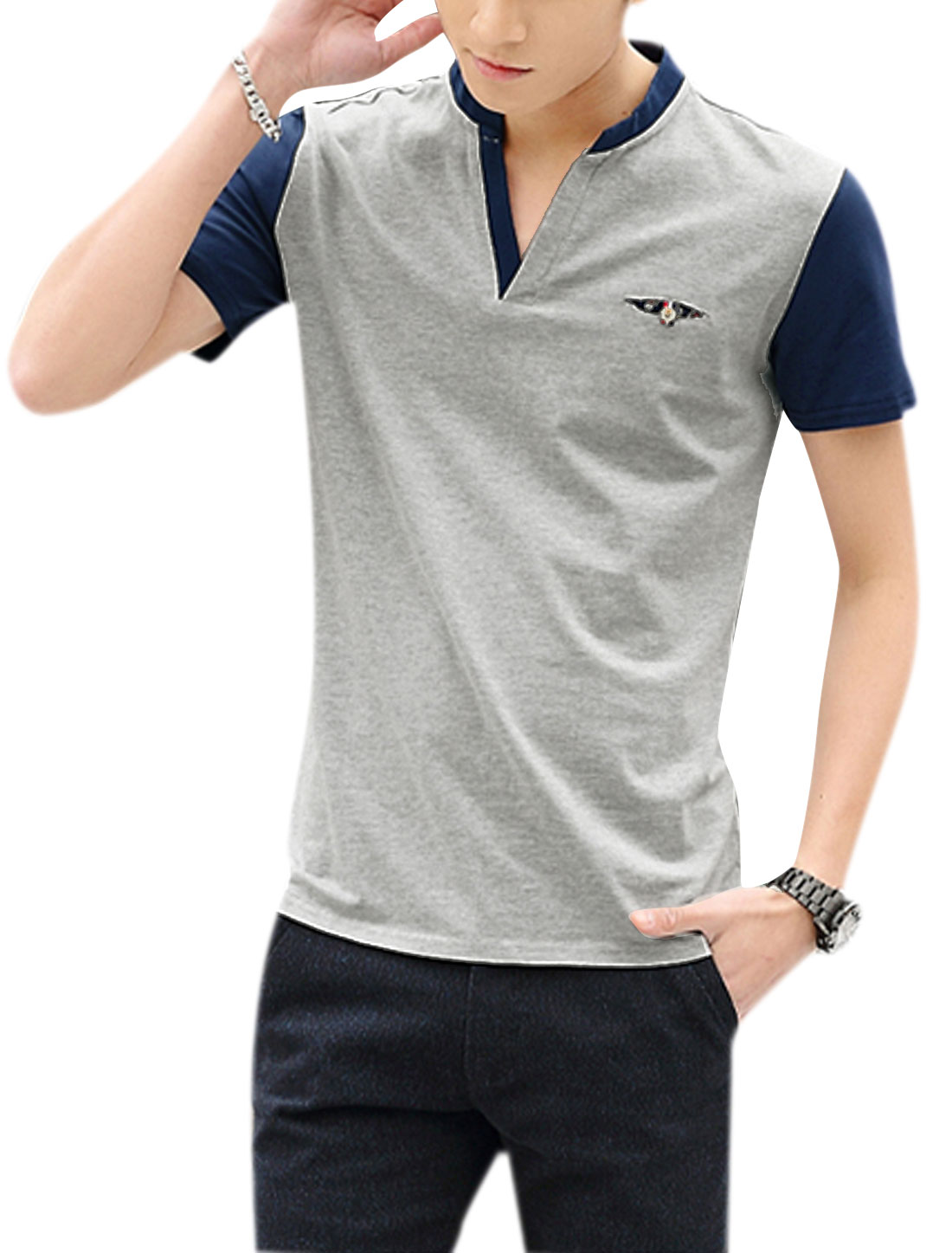 Men Short Sleeves Contrast Color T-Shirts Light Gray M