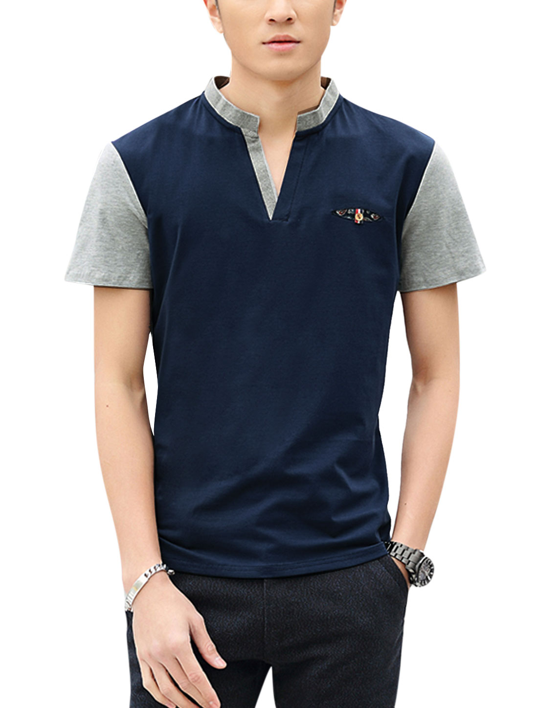 Man Stand Collar Short Sleeves Contrast Color T-Shirts Navy Blue M