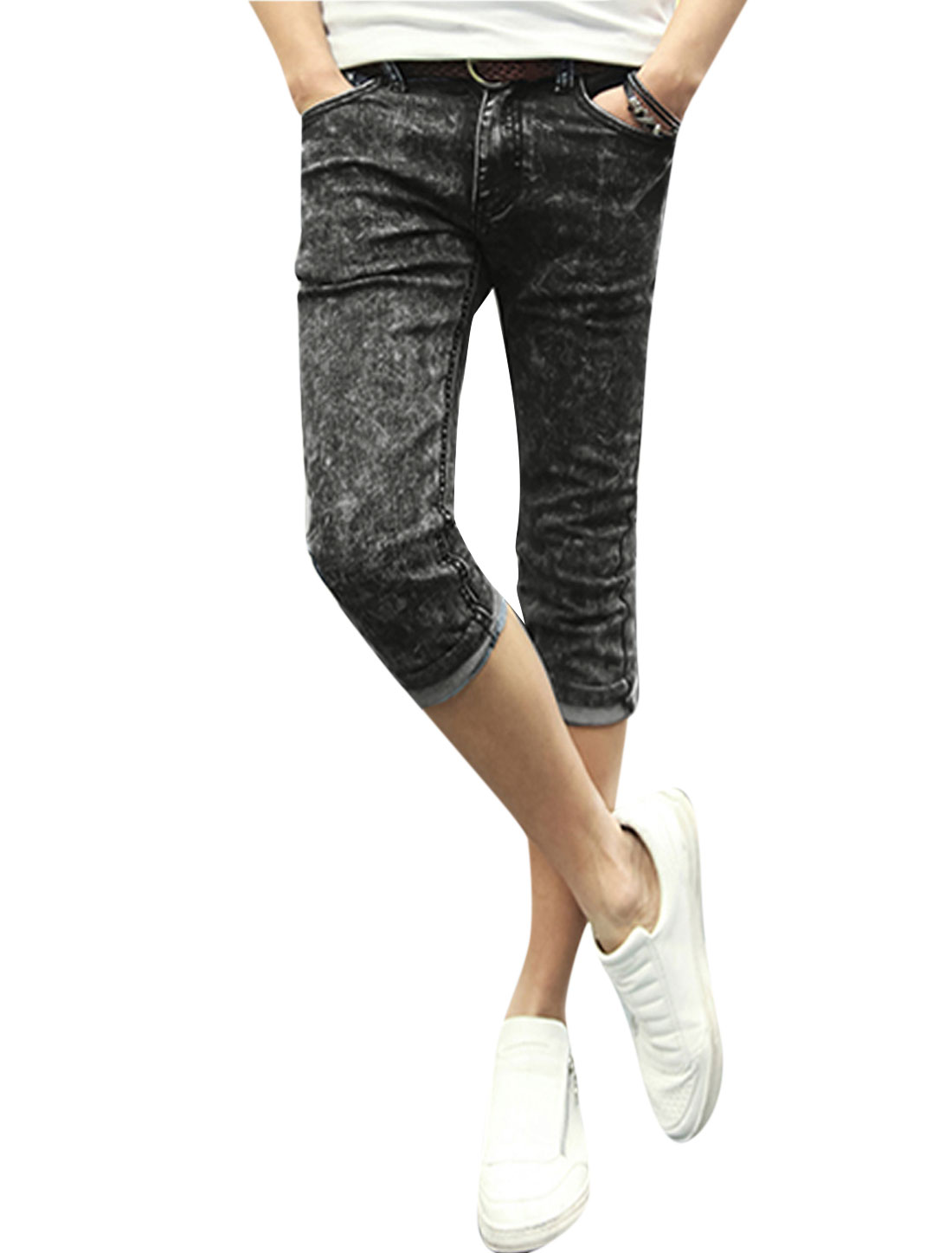 Man Mid Rise Zip Fly One Button Closed Capri Skinny Jeans Black W32