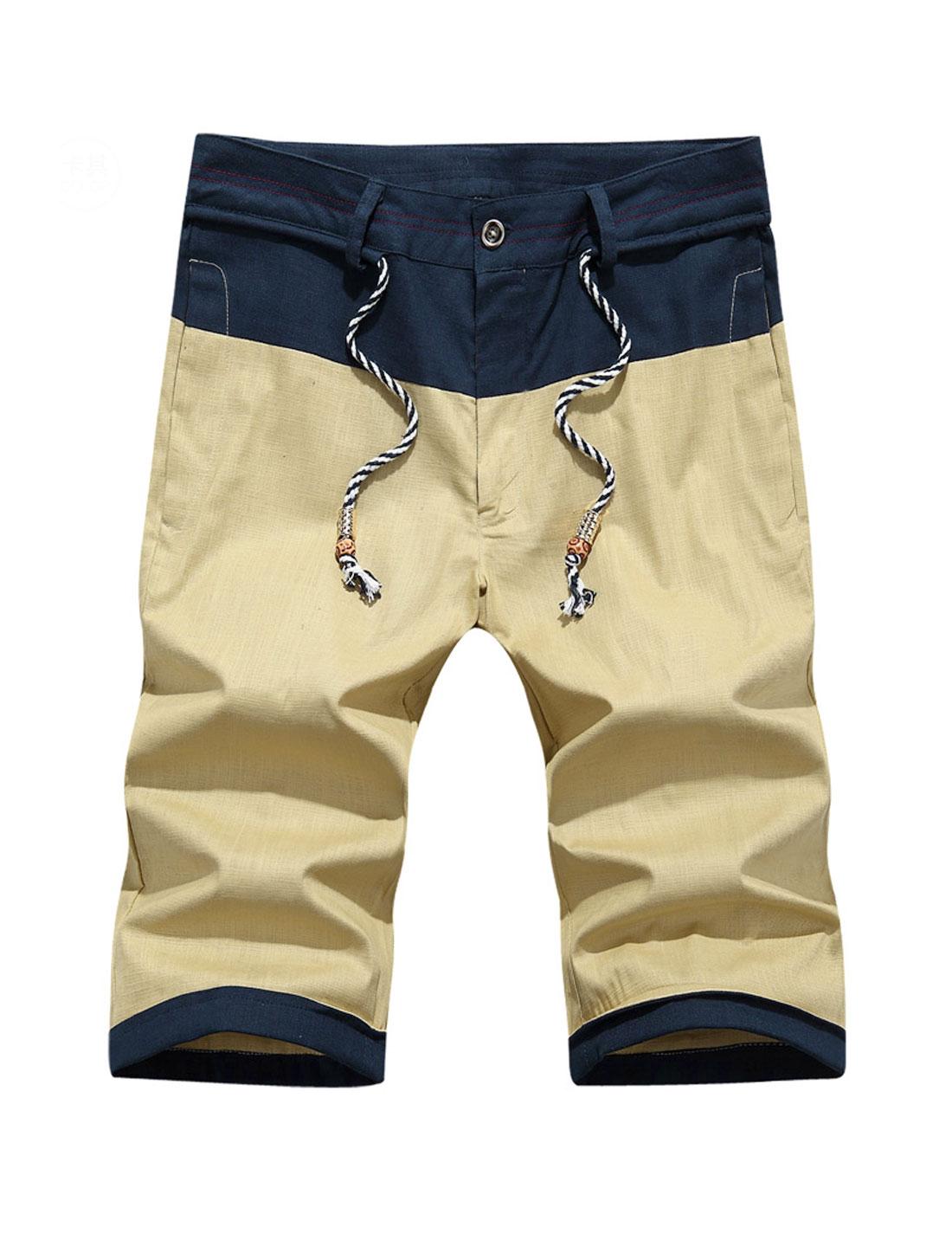 Men Mid Rise Contrast Color Welt Hip Pockets Casual Shorts Khaki W30