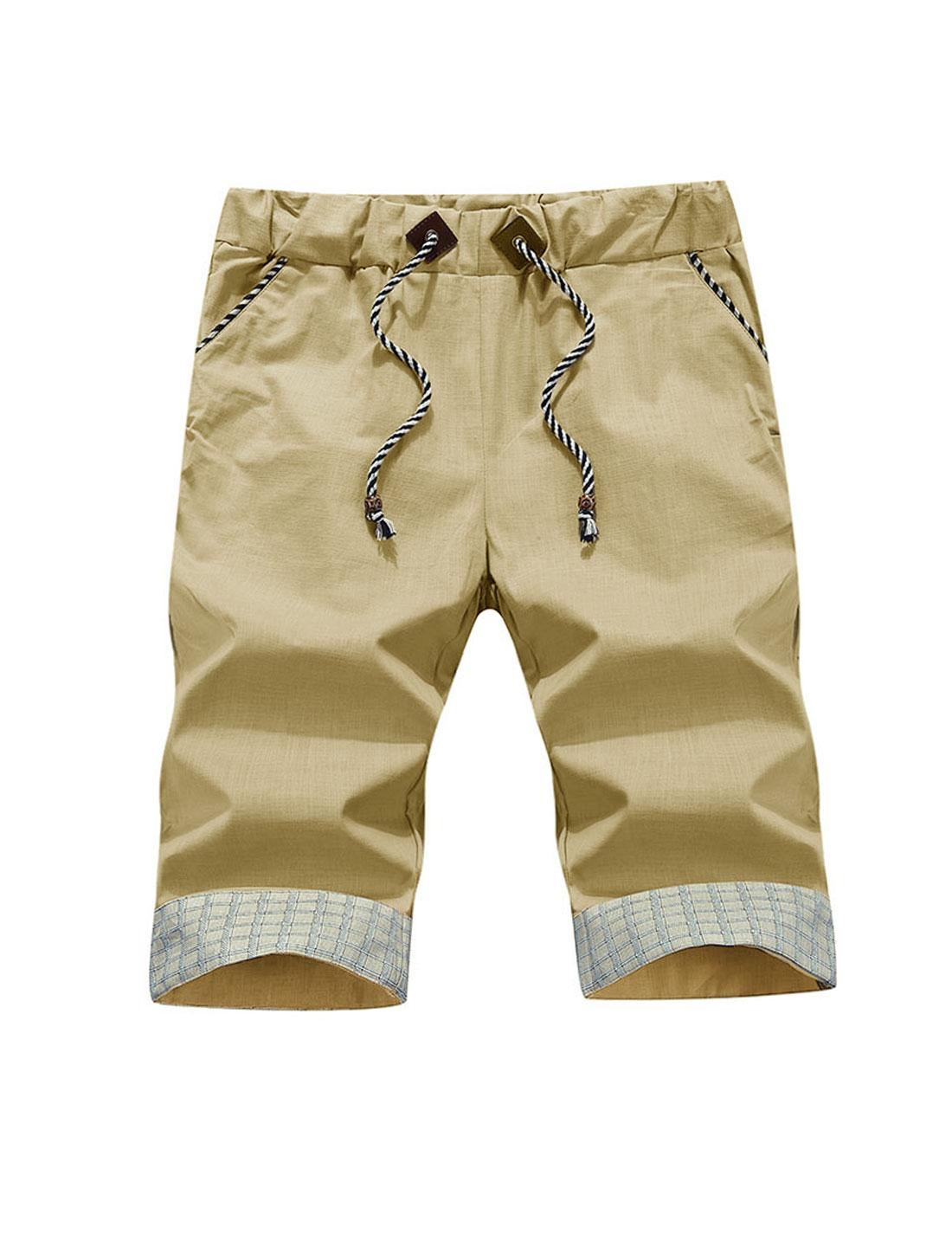 Men Elastic Waist Roll Up Cuffs Casual Shorts Khaki W32