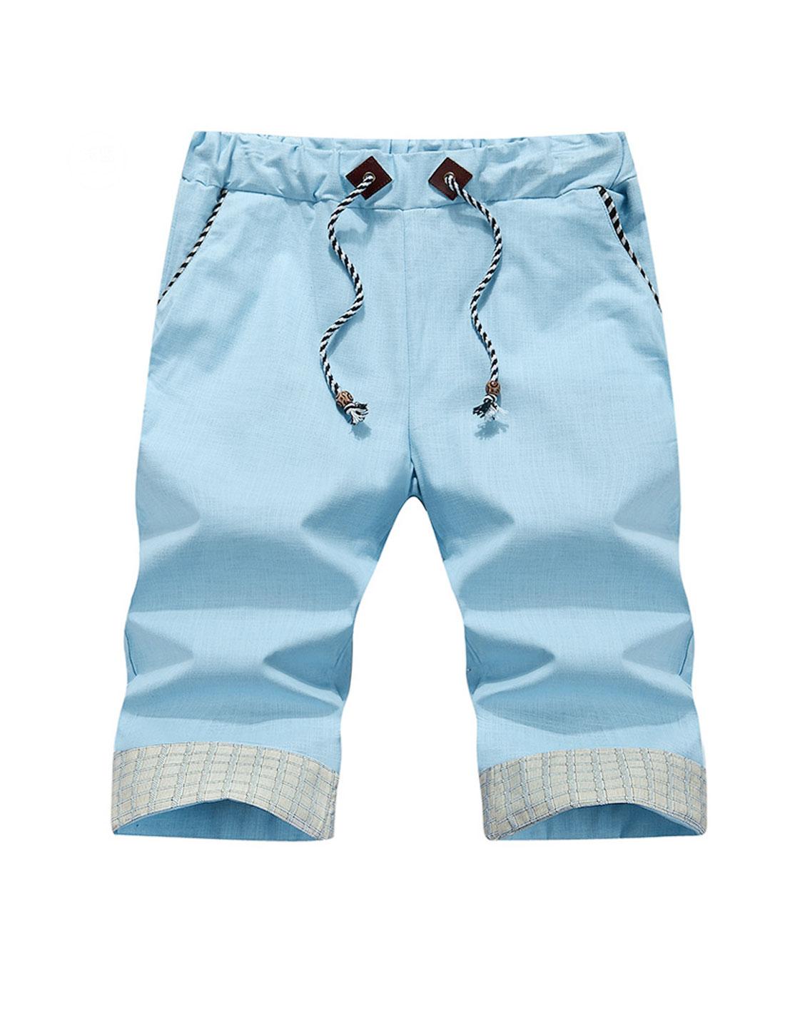 Men Drawstring Waist Plaids Detail Casual Shorts Sky Blue W32