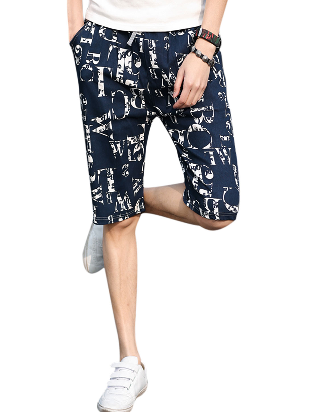 Man Numbers Letters Prints Elastic Waist Band Casual Beach Shorts Navy Blue W32
