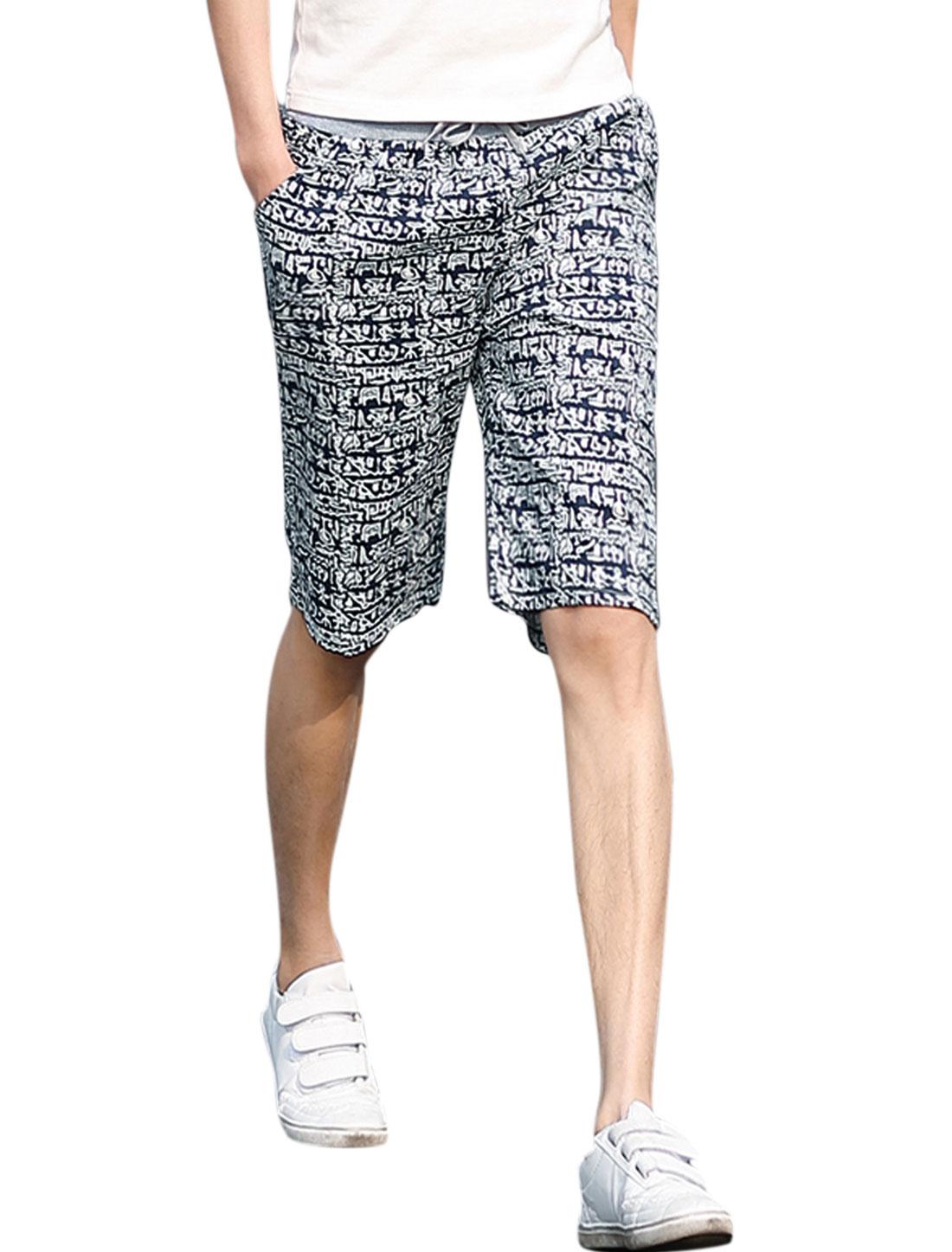 Man Novelty Prints Elastic Drawstring Waist Slant Pockets Beach Shorts Navy Blue White W32