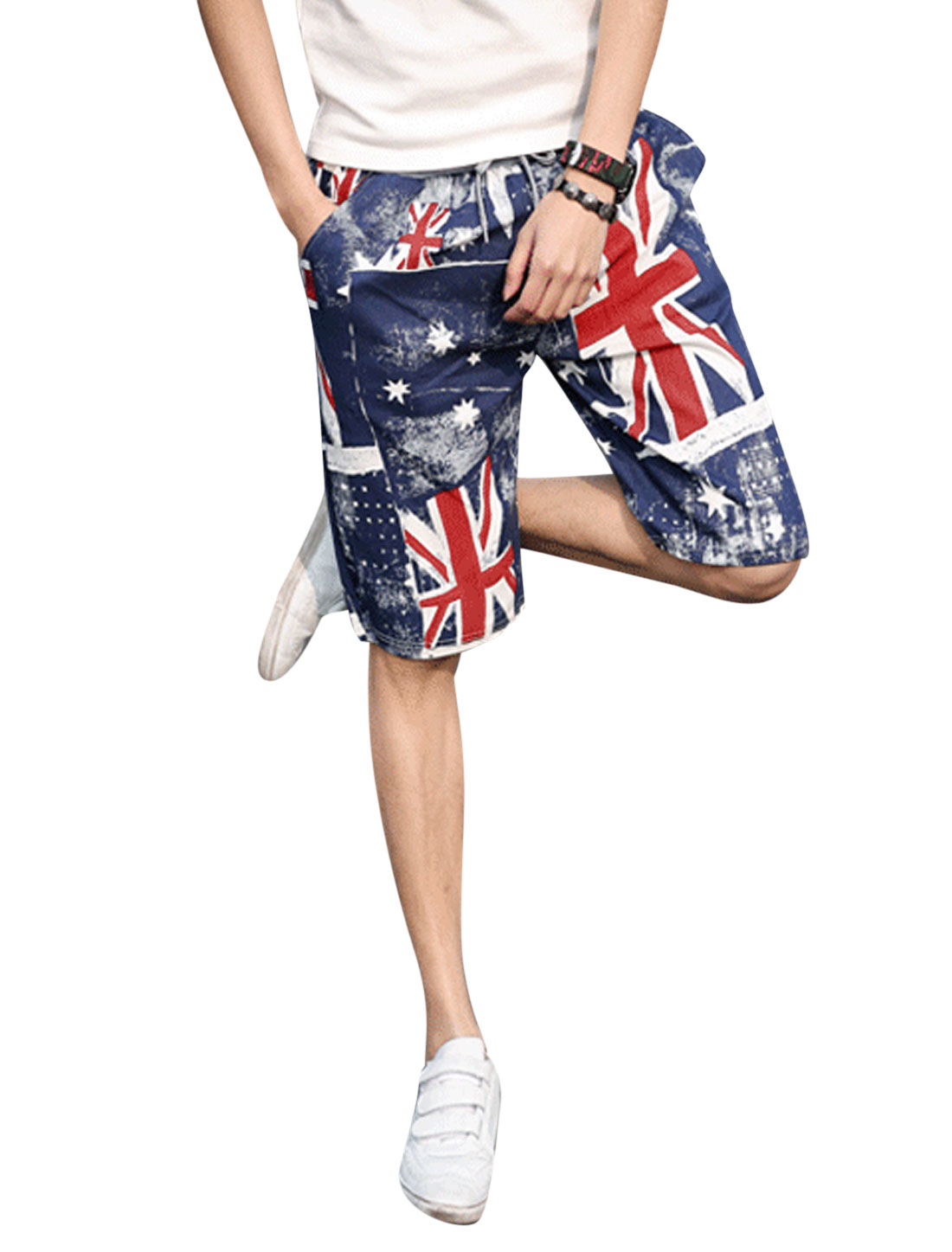 Man Union Jack Flag Pattern Slant Pockets Side Beach Shorts Dark Blue W32
