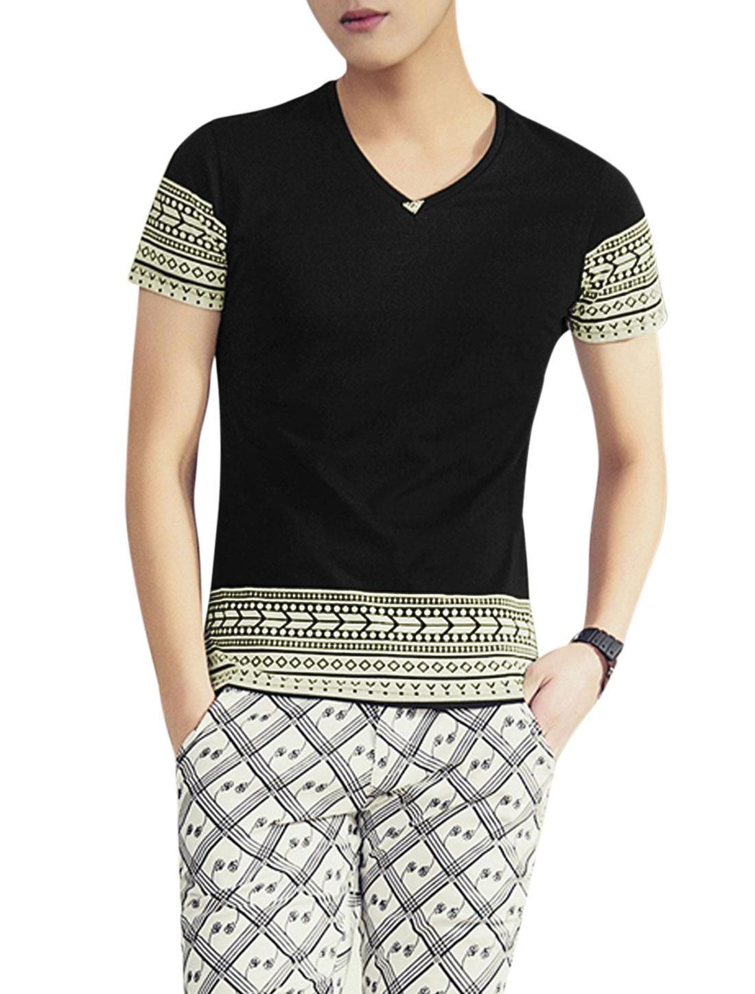 Men Short Sleeve V Neck Geometric Prints Leisure T Shirts Black M