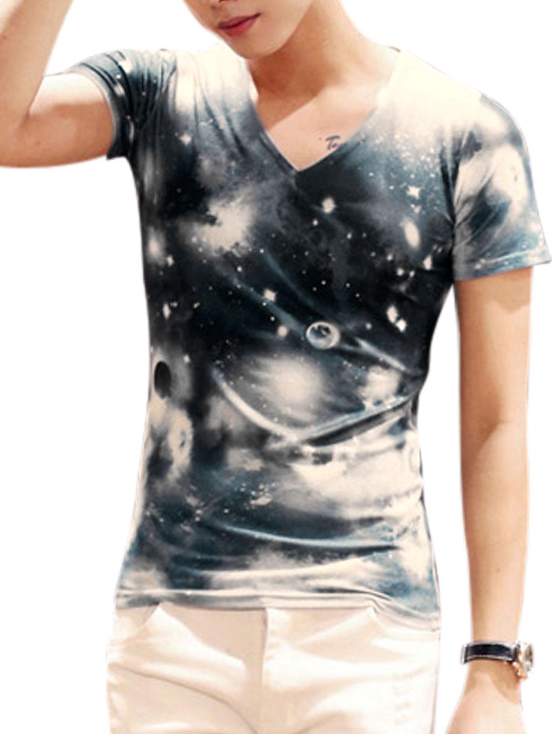 Man Galaxy Pattern V Neck Short Sleeves Slipover Leisure Top Beige Dark Blue M