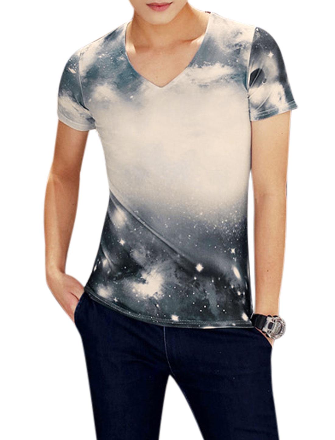 Man Galaxy Pattern V Neck Slim Fit Slipover Leisure Top Blue Beige M