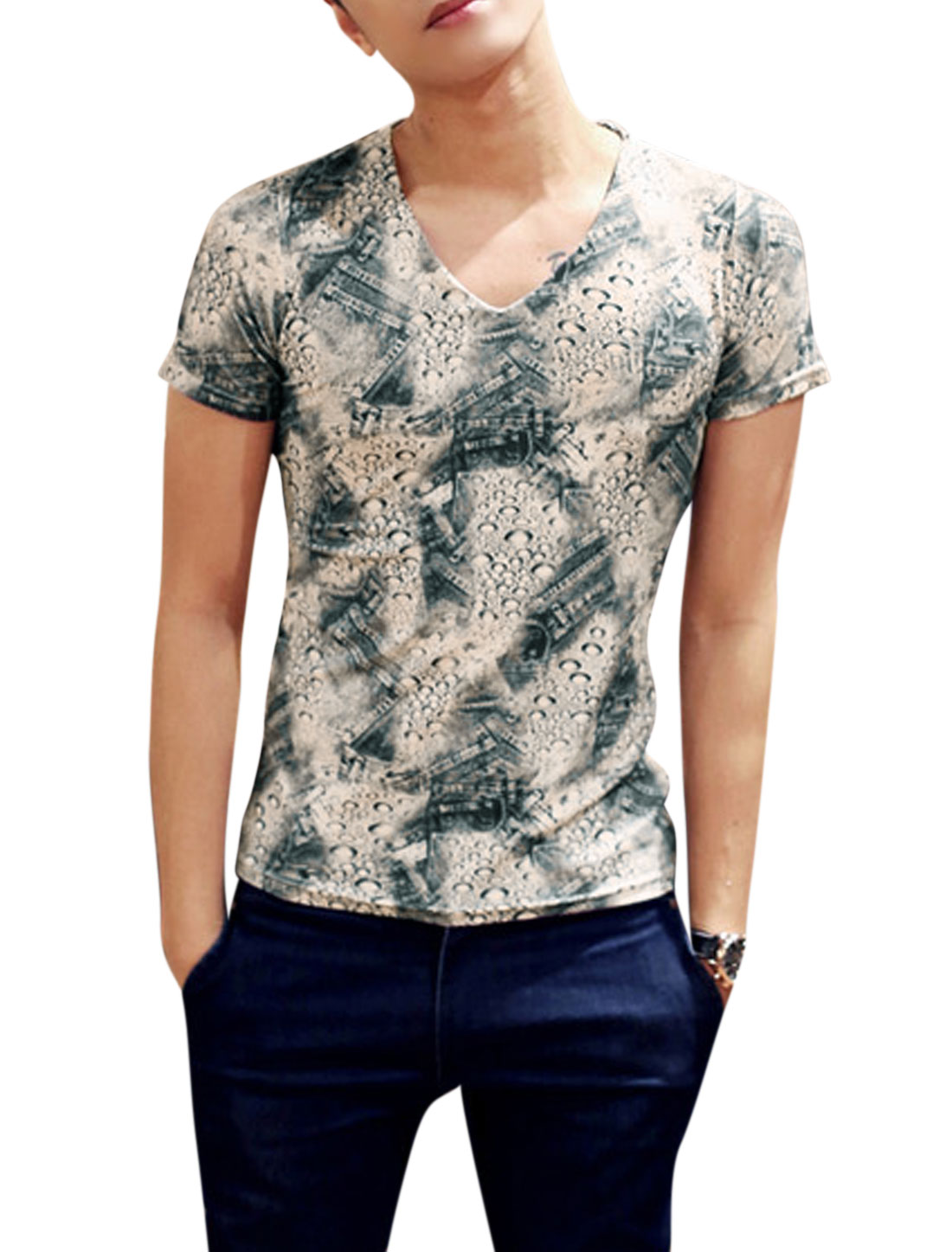 Man Water-drop Jeans Pattern V Neck Short Sleeves Slipover T-shirt Multicolor M