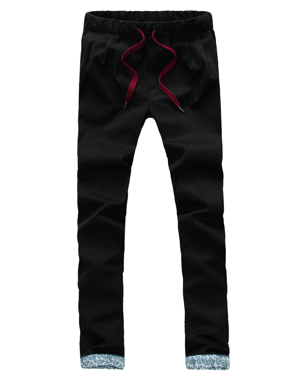 Men Mid Rise Elastic Waist Drawstring Front Pockets Casual Pants Black W32