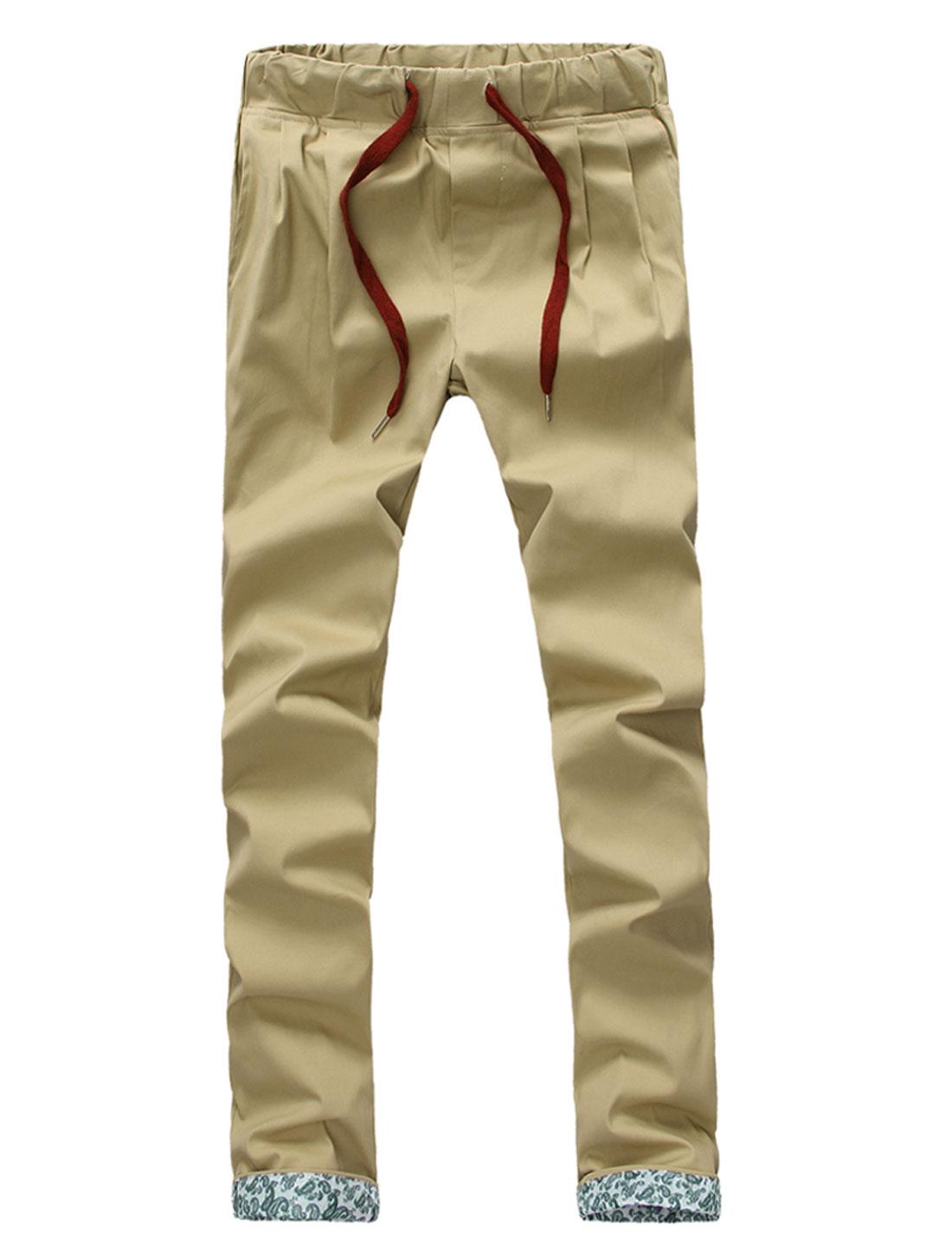 Men Mid Waist Drawstring Front Pockets Leisure Pants Khaki W32
