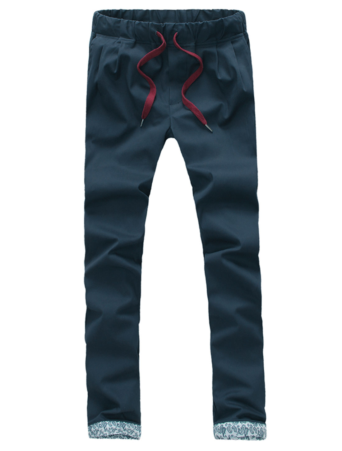 Men Mid Rise Elastic Waist Drawstring Pockets Pants Navy Blue W32