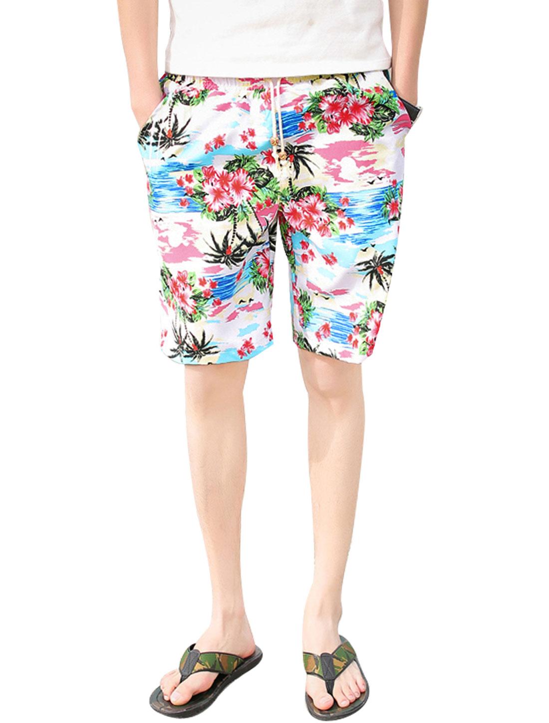Men Elastic Waist Beach Prints Straight Casual Shorts Sky Blue Beige W32
