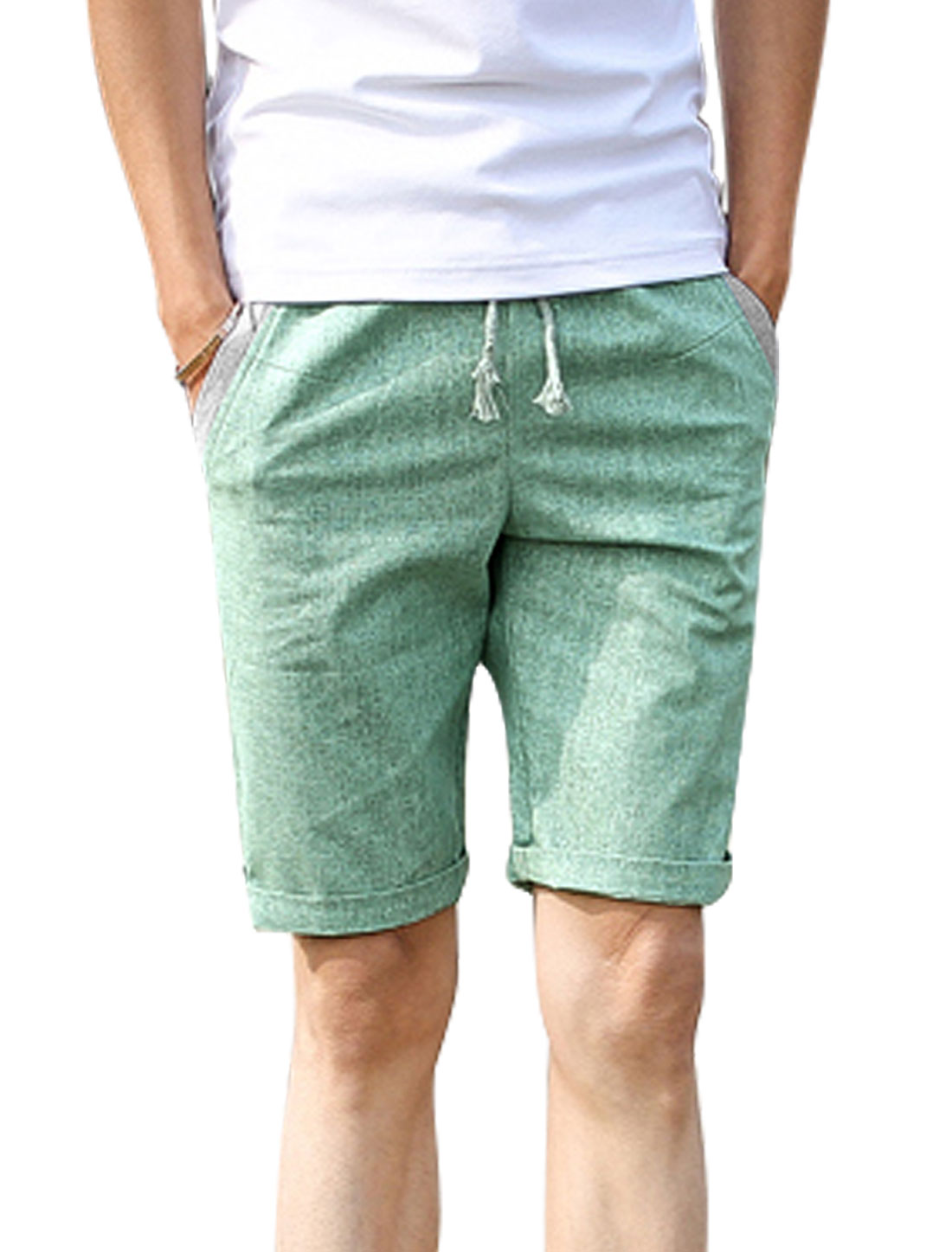 Men Drawstring Waist Pockets Contrast Detail Casual Shorts Mint W30
