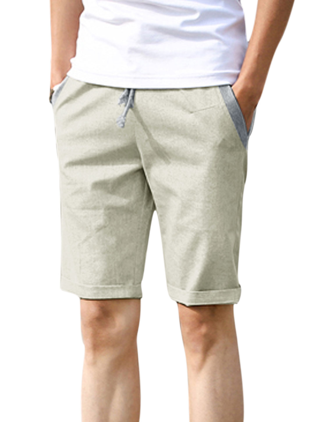 Men Mid Rise Elastic Waist Drawstring Pockets Leisure Shorts Light Gray W30