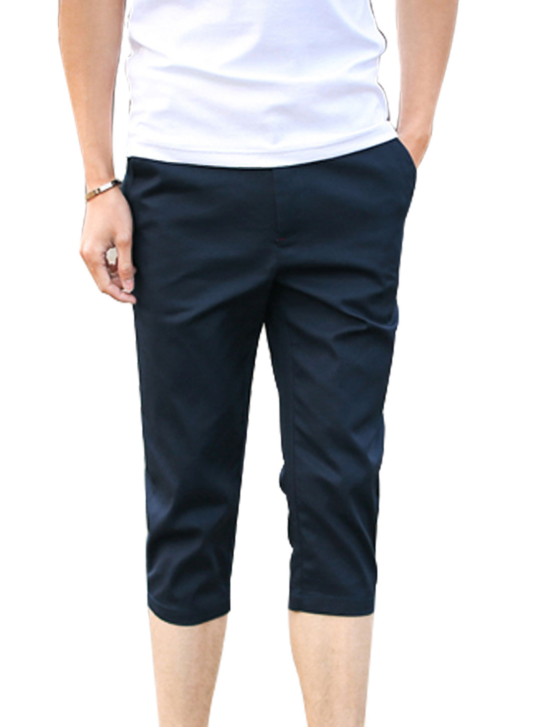 Men Mid Rise Belt Loop Zip Fly Button Closure Pockets Capris Pants Navy Blue W30