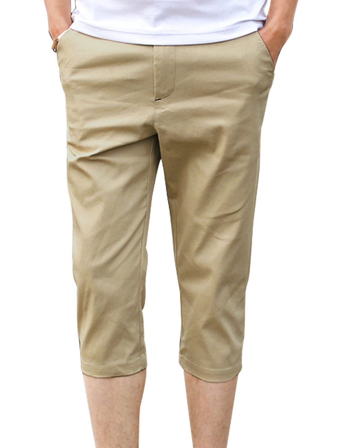 Men Mid Rise Belt Loop Zip Fly Front Pockets Casual Capris Pants Khaki W30