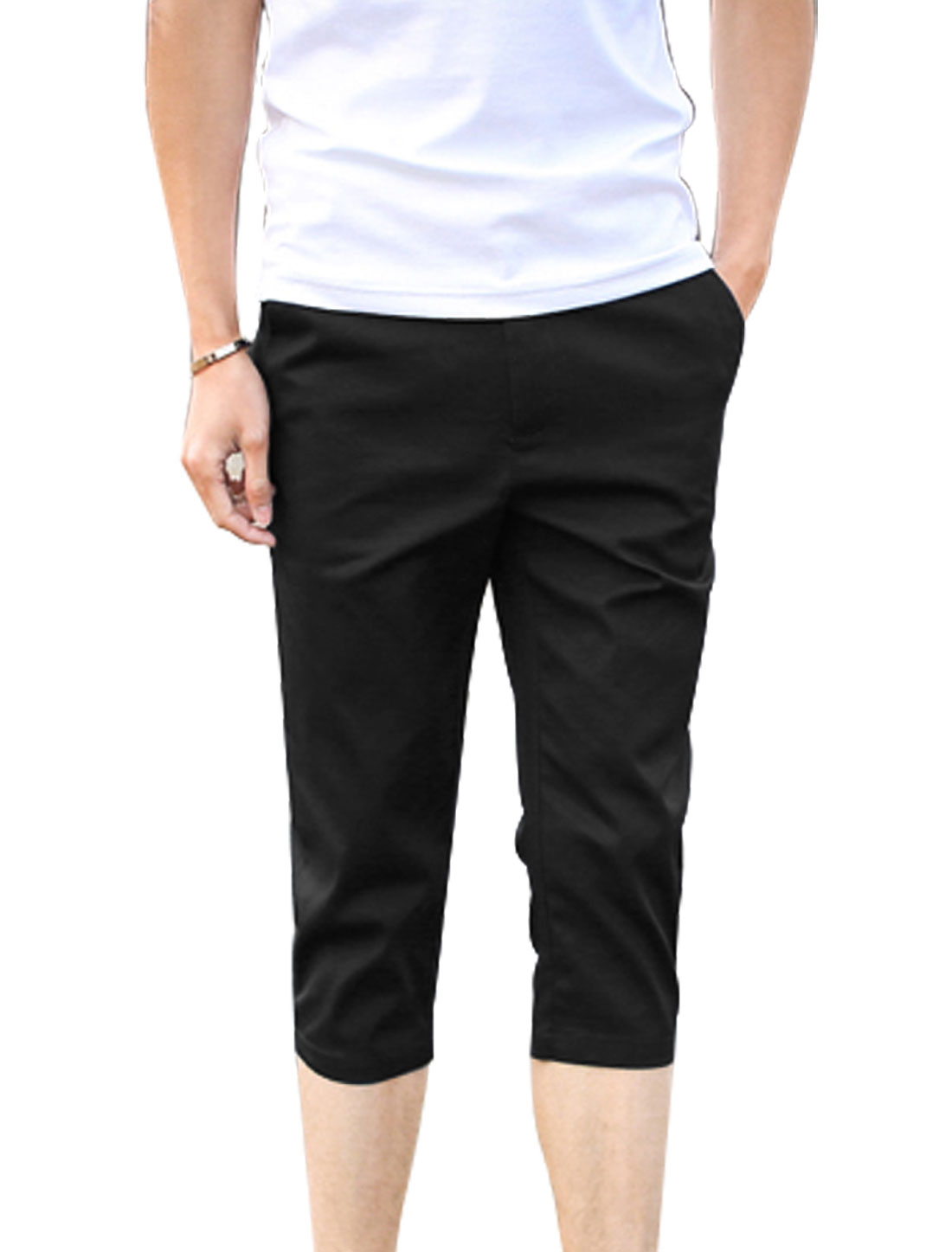 Men Belt Loop Zip Fly Button Closure Casual Capris Pants Black W30