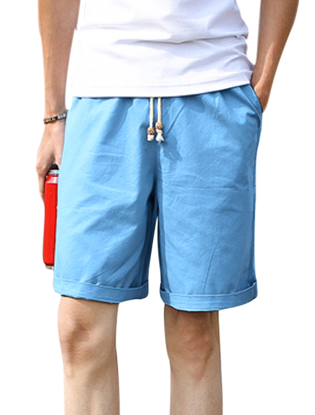 Men Mid Rise Elastic Waist Drawstring Front Pockets Shorts Sky Blue W30