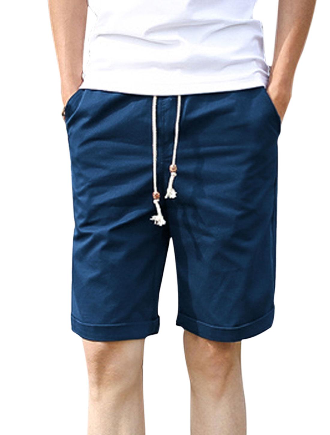 Men Elastic Waist Drawstring Front Pockets Casual Shorts Navy Blue W30