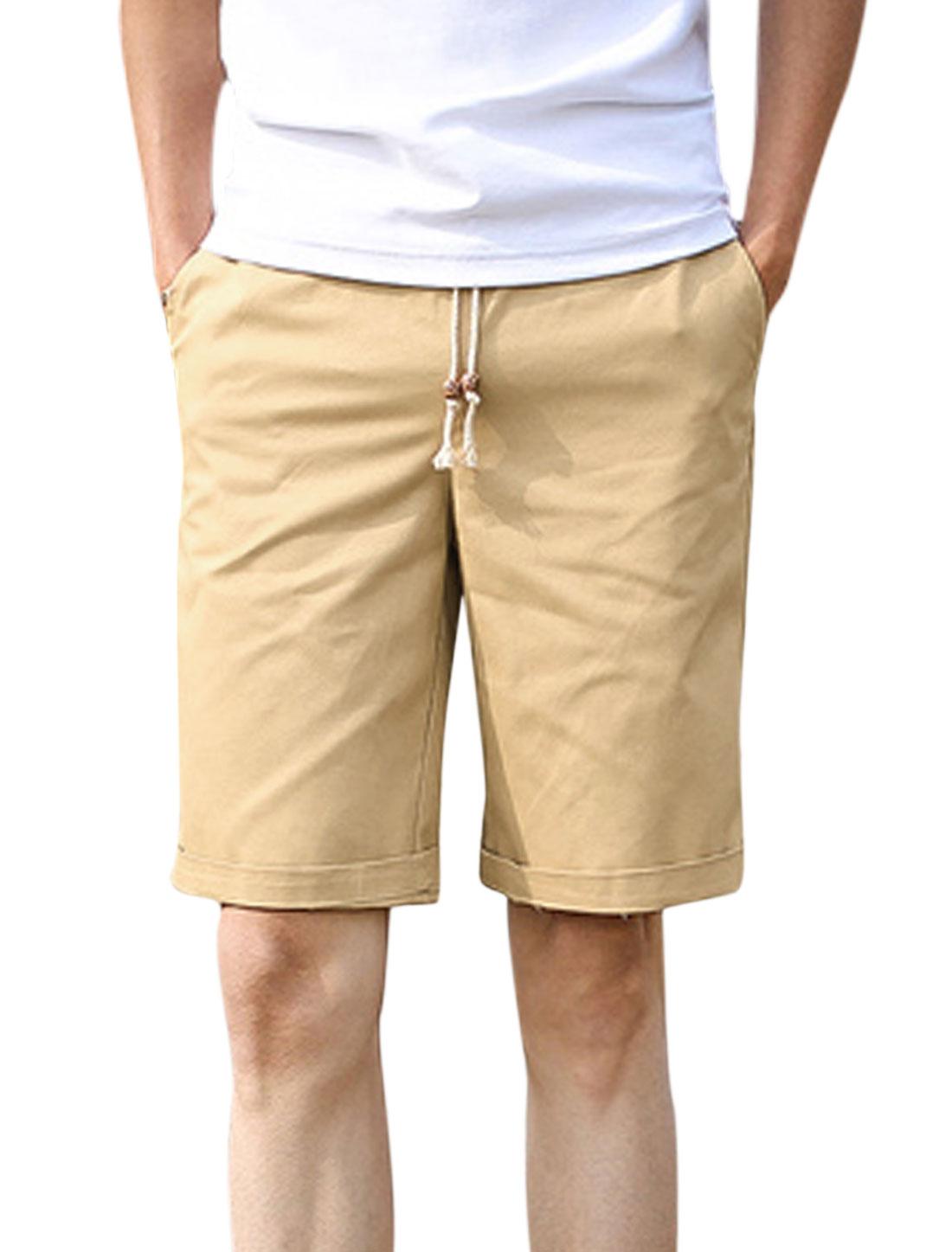 Men Elastic Waist Drawstring Pockets Casual Shorts Khaki W30