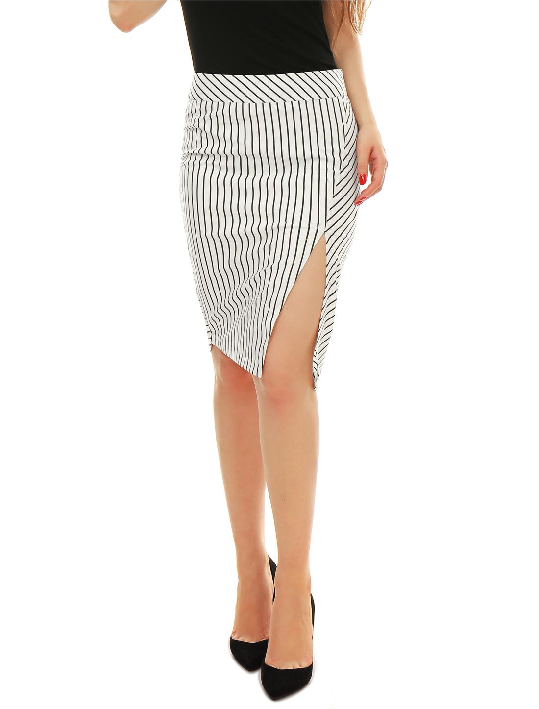 Woman Stripes Split Front Fully Lined Pencil Skirt Black White S