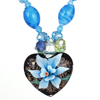 Blue Rhinestone Inlaid Neck String Heart Booming Flower Press Glass Pendant Necklace for Lady