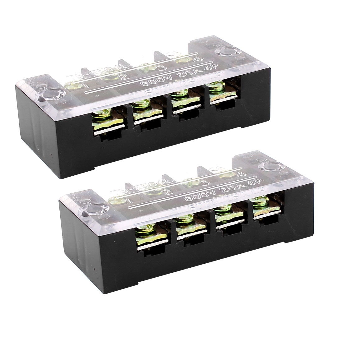 2pcs 600V 25A 4 Position Dual Row Barrier Terminal Block Strip w Cover