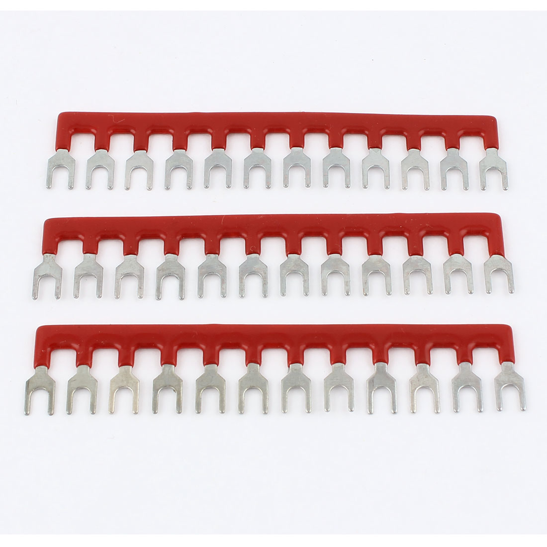 400V 10A 12 Postions Red Pre Insulated Fork Shape Terminal Strip 3 Pcs