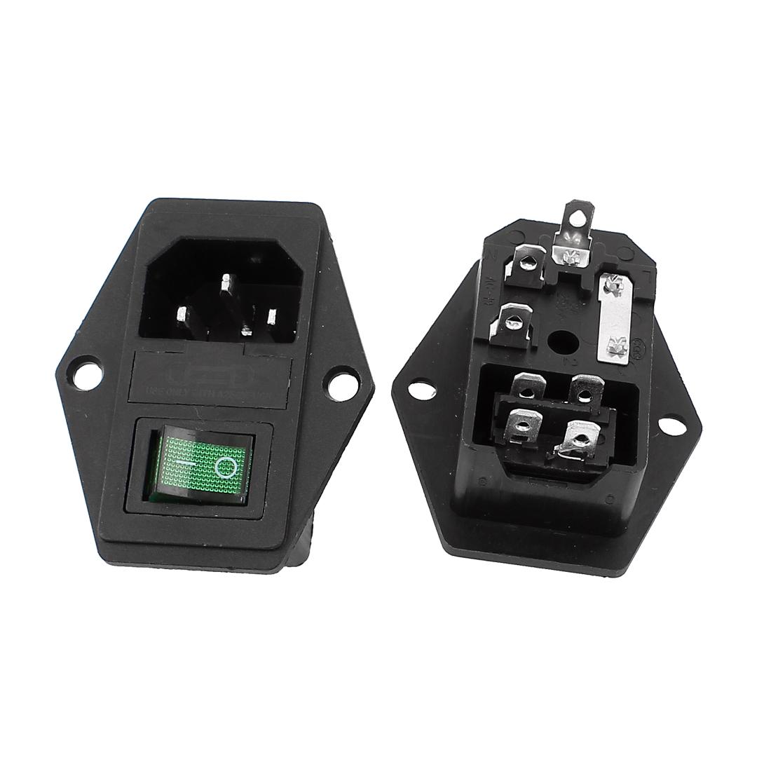 2pcs IEC320 C14 Power Inlet Green Light Rocker Switch AC 250V 15A w Fuse Holder