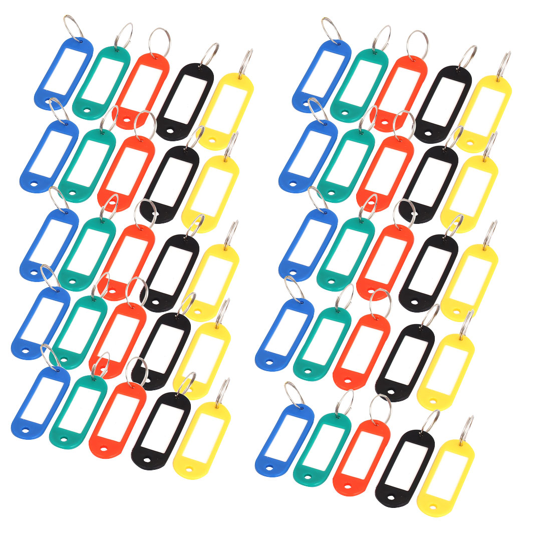 Assorted color Plastic Key ID Label Tags Split Ring Keyring 50pcs