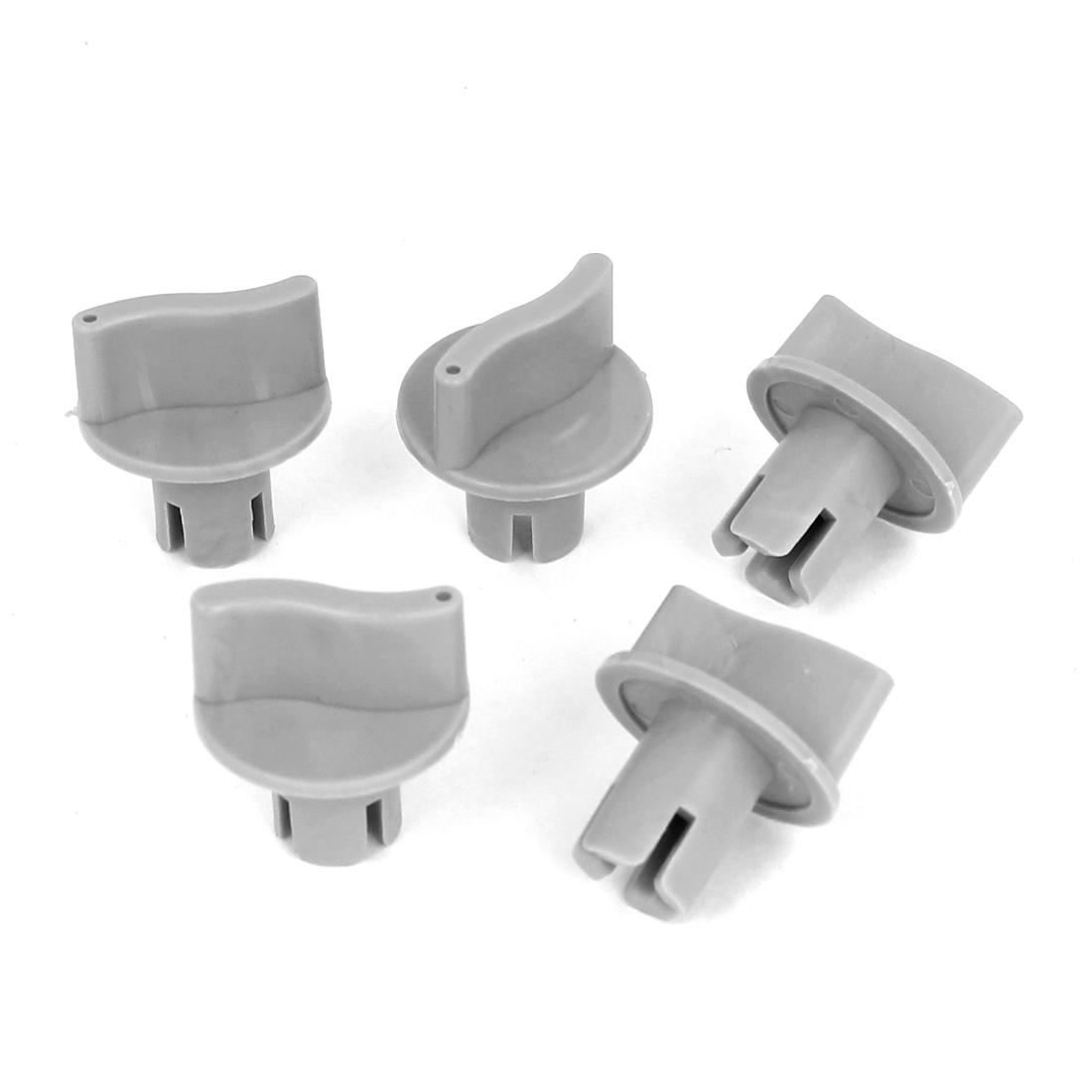 Washing Machine Part 6mm ID Cross Slot Hard Plastic Timer Turning Knob Gray 5pcs