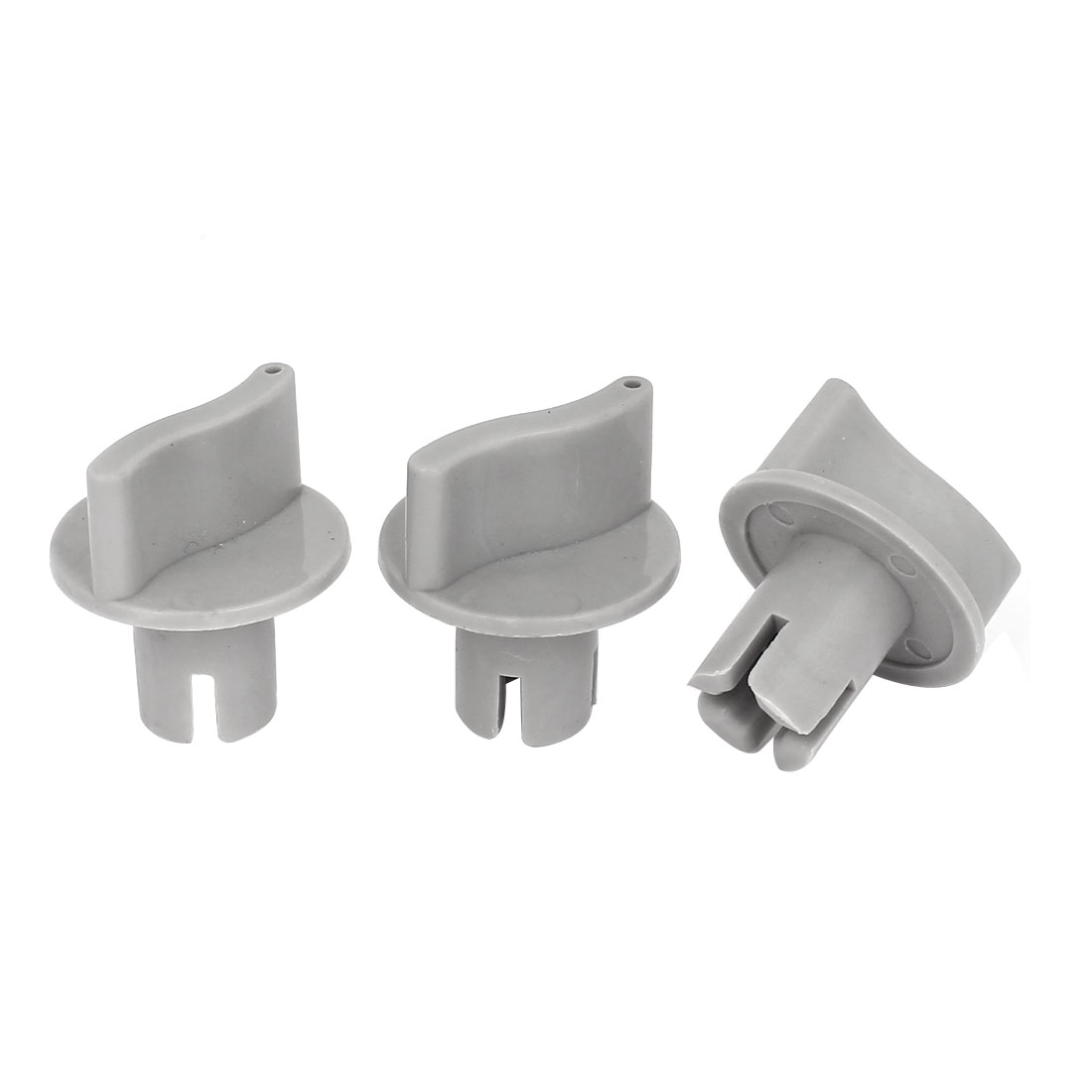Washing Machine Part 6mm ID Cross Slot Hard Plastic Timer Turning Knob Gray 3pcs