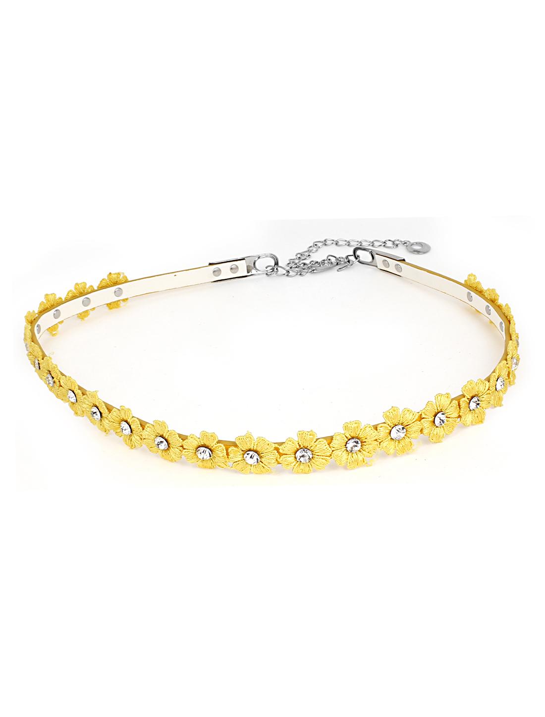 Women Fashion Flower Detail PU Leather Thin Skinny Belt Waistband Yellow