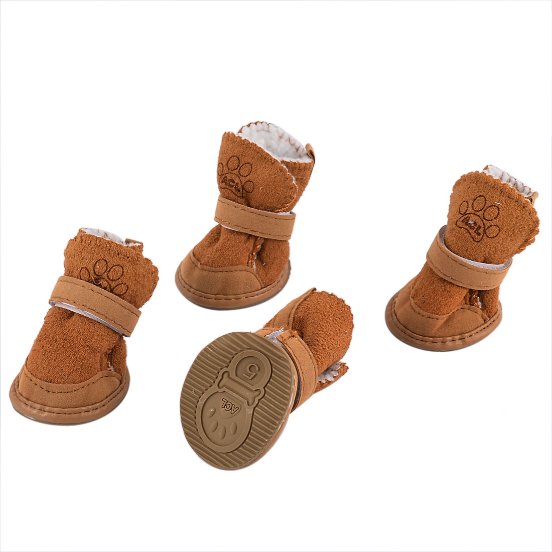 Pet Dog Chihuahua Hook Loop Closure Booties Shoes Boots 2 Pair Brown Size XS