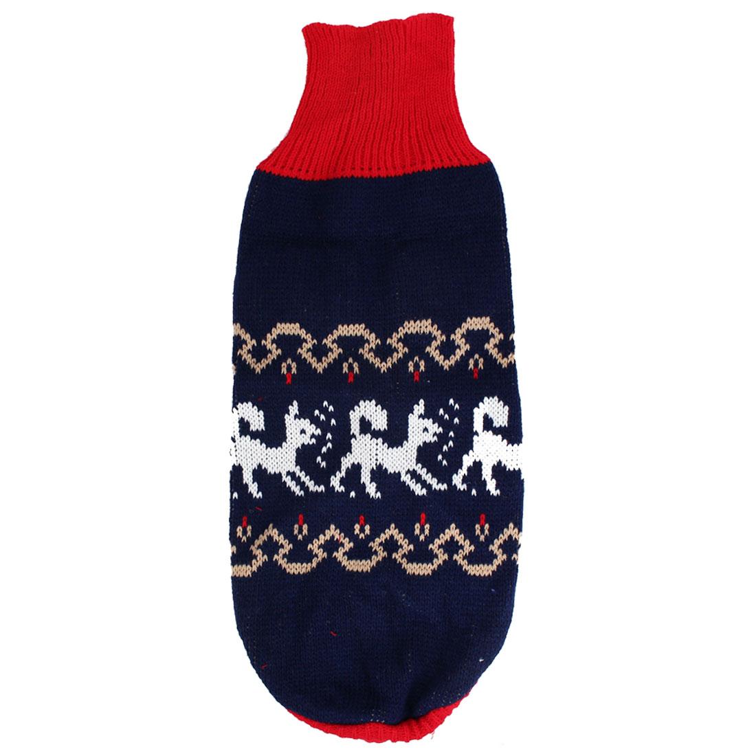 Pet Dog Ribbed Cuff Turtleneck Animal Pattern Knitwear Sweater Size 16