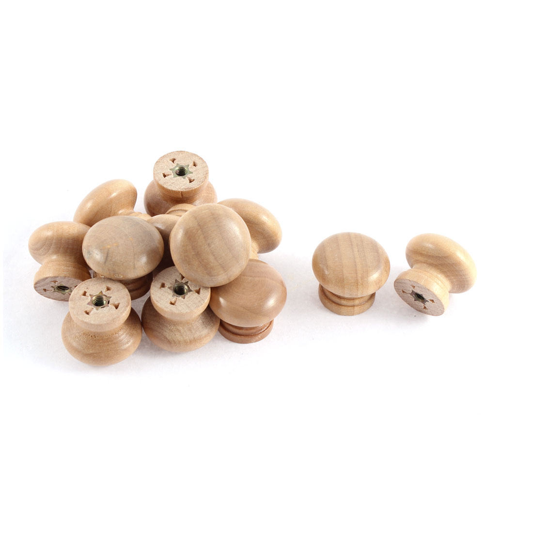 12 Pcs Cabinet Drawer Cupboard Wooden Round Shape Handle Pull Knob Grip