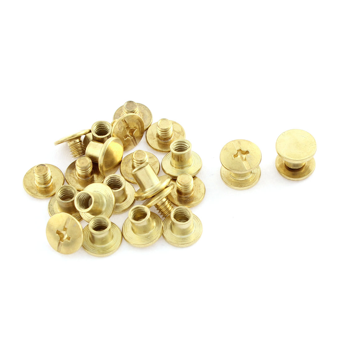 12 Pair 4mmx5mm Brass Plated Binding Chicago Screw Post for Leather Purse Belt