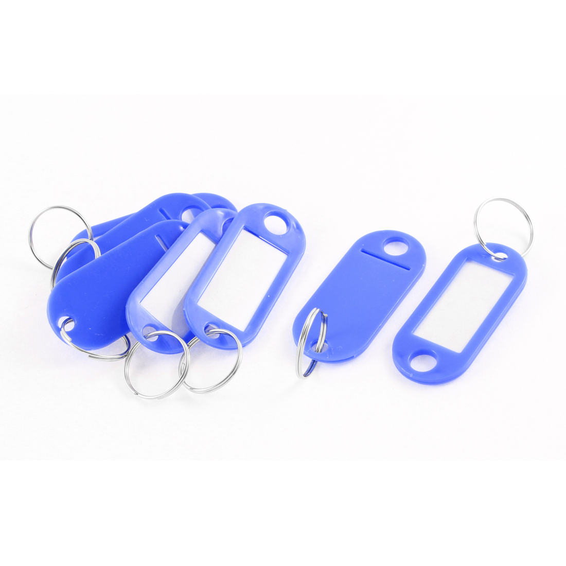 7pcs Blue Plastic Luggage Fobs ID Label Name Tag Badge Clip Holder Keyring